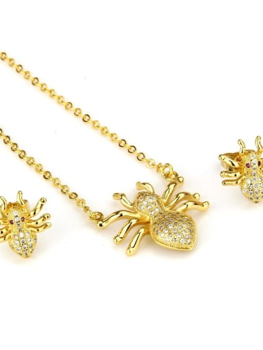 Golden Spider suit Brass  Cubic Zirconia Insect Earring and Necklace Set