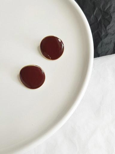 14K  gold wine red Copper Enamel Round Minimalist Stud Earring