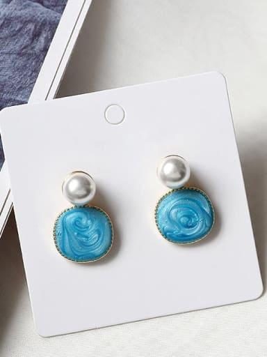 sky blue Copper Enamel Geometric Minimalist Stud Earring