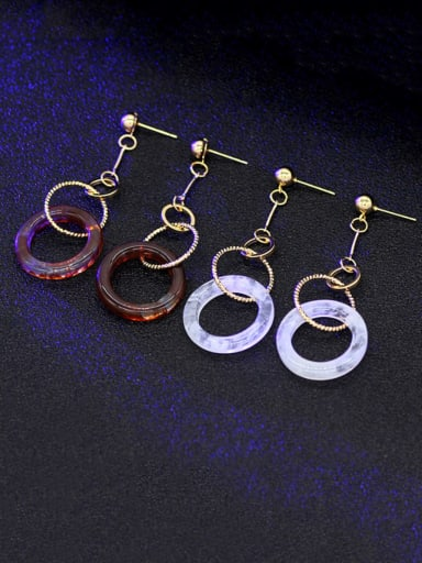 Copper Acrylic Round Minimalist Drop Earring