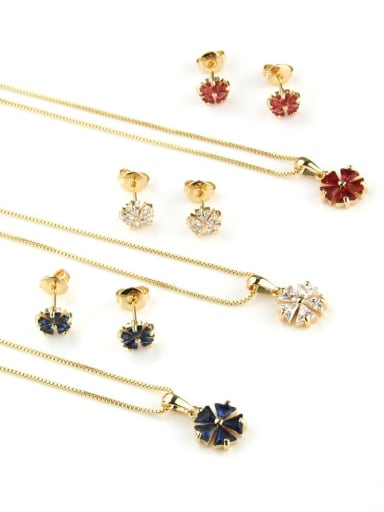 Brass Dainty Clover Cubic Zirconia Earring and Necklace Set