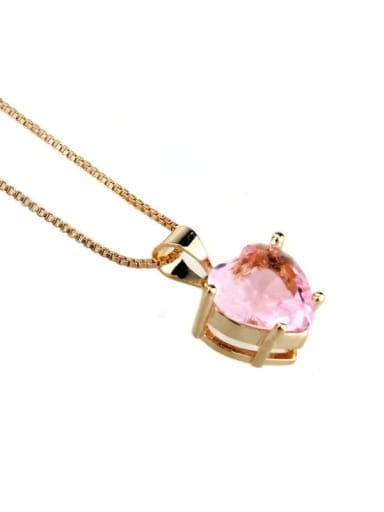 Gold Plated Pink Brass Cubic Zirconia Dainty Heart  Earring and Necklace Set