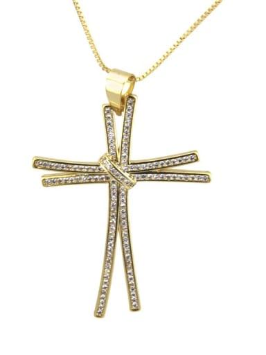 Gold plated white zirconium Brass Rhinestone Cross Dainty Regligious Necklace