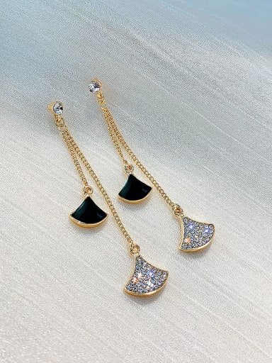 black Earrings Zinc Alloy Cubic Zirconia White Enamel Trend Drop Earring/Necklaces