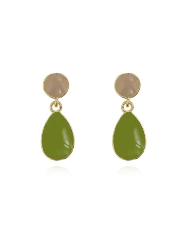 Butter green Copper Enamel Water Drop Minimalist Drop Earring