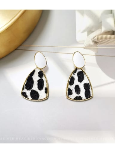 Leopard Print Copper Fabric Triangle Minimalist Drop Earring