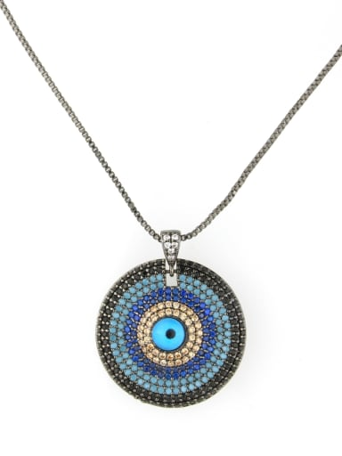 Brass Cubic Zirconia Ethnic Round Pendant Necklace
