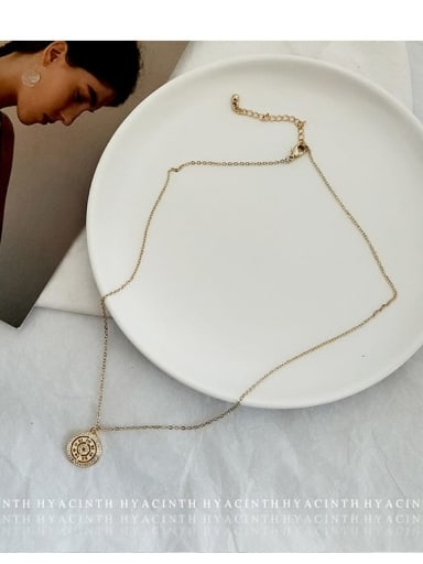 Golden Zinc Alloy Imitation Pearl White Number Trend Number Necklace