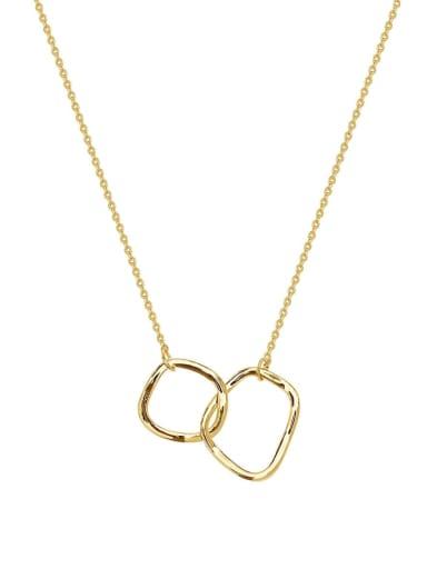 Brass Geometric Minimalist Initials Necklace
