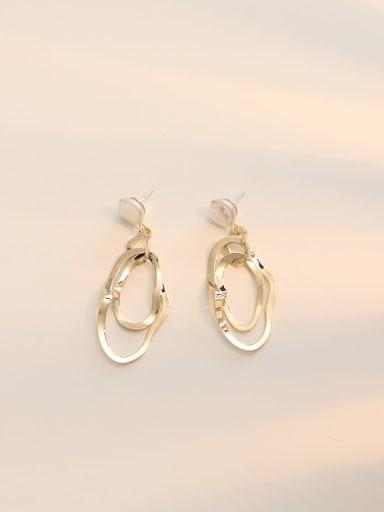 14K  gold Copper  Hollow Geometric Minimalist Drop Earring