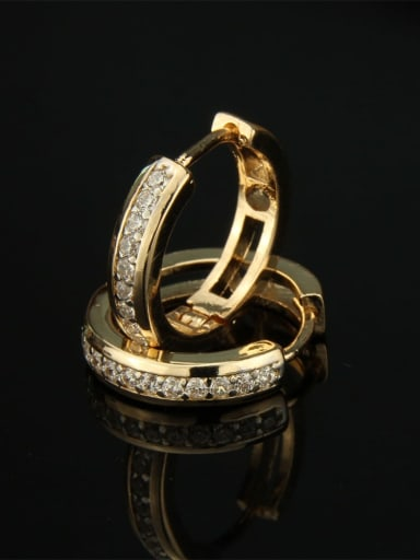 Gold plated white zircon Brass Cubic Zirconia Round Dainty Hoop Earring