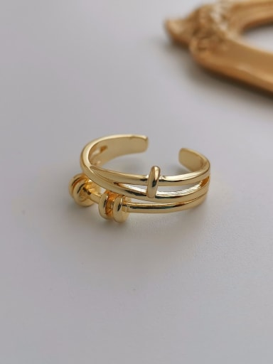 Copper Geometric Nail shape Trend Stackable Ring
