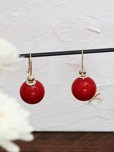 gules Copper Enamel Geometric Minimalist Hook Earring