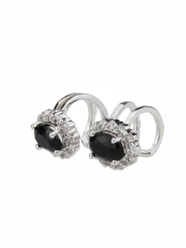 Platinum plating Brass Round Cubic Zirconia Round Dainty Clip Earring