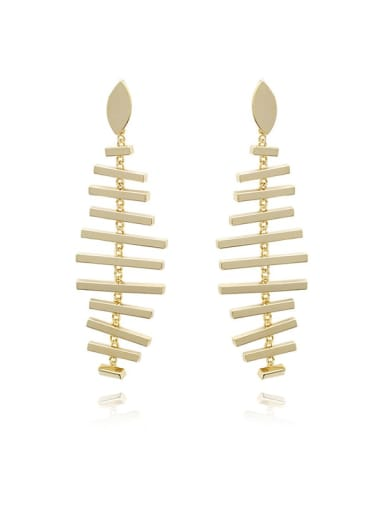 Copper G Minimalist Fish bone shape Chandelier Earring
