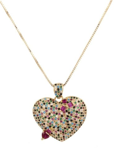 Gold plated color zircon Brass Cubic Zirconia Heart Dainty Necklace