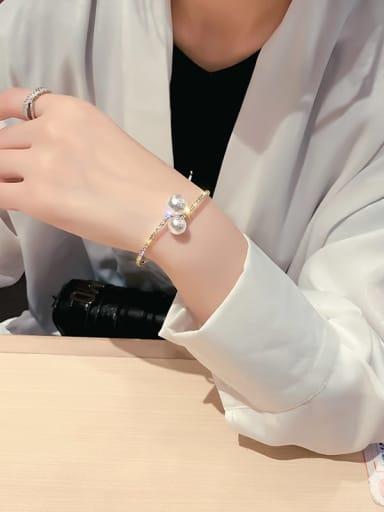 Golden Bracelet Zinc Alloy Imitation Pearl White Geometric Trend Choker Necklace