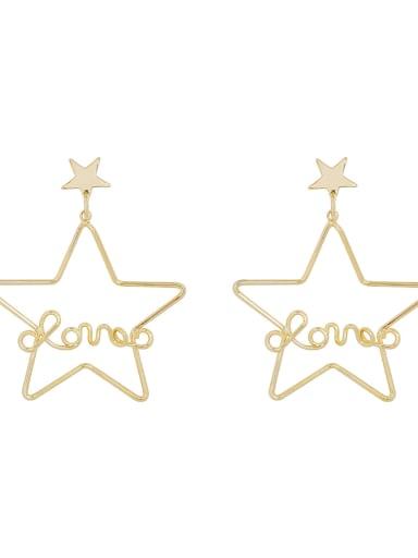 Copper Cubic Zirconia Hollow Pentagram Vintage Chandelier Earring