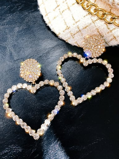 gold Color Alloy Rhinestone Heart Statement Earring