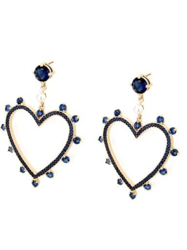 Gold Plated blue zirconium Brass Rhinestone Heart Minimalist Drop Earring