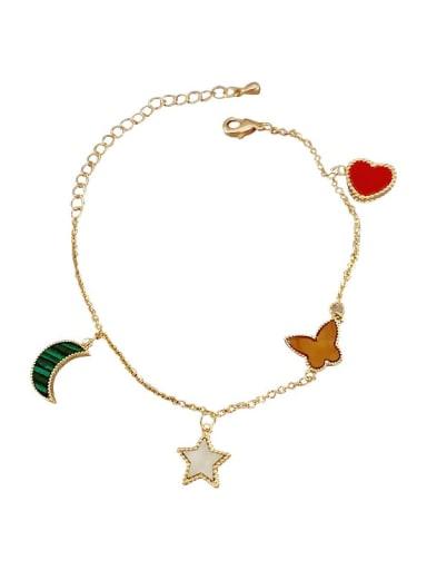 Alloy Enamel Heart Minimalist Link Bracelet
