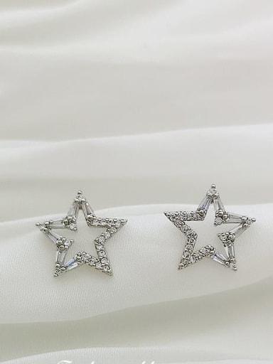 White K Copper Cubic Zirconia Star Dainty Stud Earring