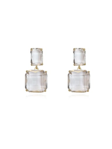 Copper Cubic Zirconia Geometric Minimalist Drop Earring