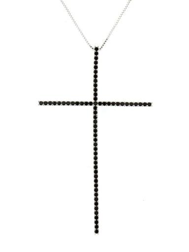 Platinum Plated Black zircon Brass Cubic Zirconia Religious Minimalist Regligious Necklace