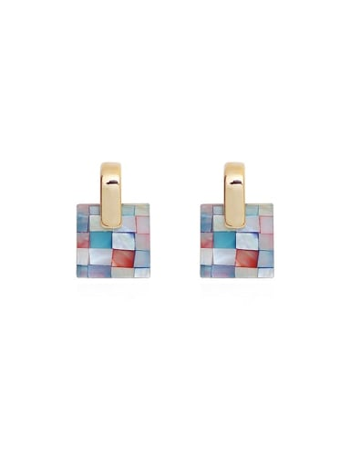 Copper Acrylic Geometric Ethnic Drop Earring