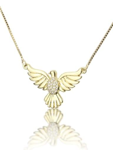Brass Cubic Zirconia  Bird Dainty Necklace
