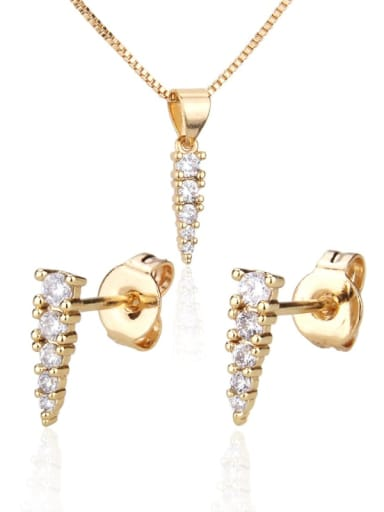 Brass Cubic Zirconia Minimalist Triangle Earring and Necklace Set