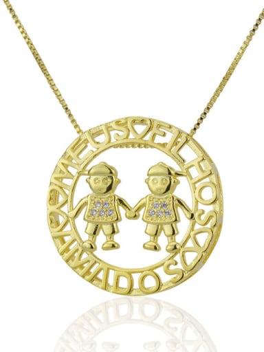 Boys and boys Brass Rhinestone  Locket Dainty Necklace
