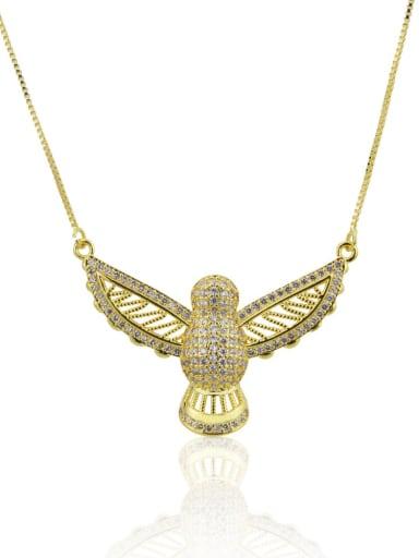 Brass Rhinestone Owl Dainty Necklace
