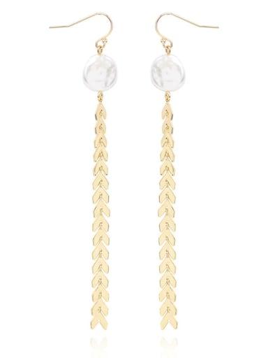 Copper Imitation Pearl Tassel Minimalist Threader Earring
