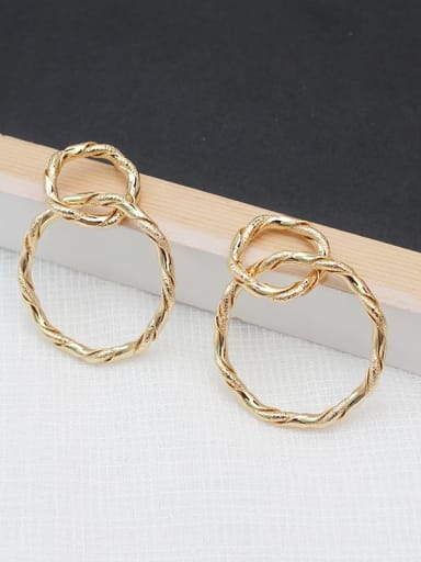 gold Copper Hollow Round Minimalist Hoop Earring
