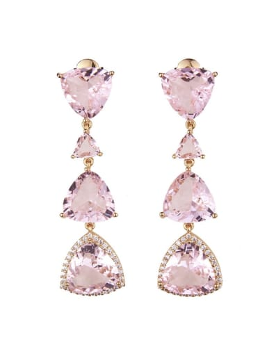 Brass Triangle Luxury Cubic Zirconia Long  Cluster Earring