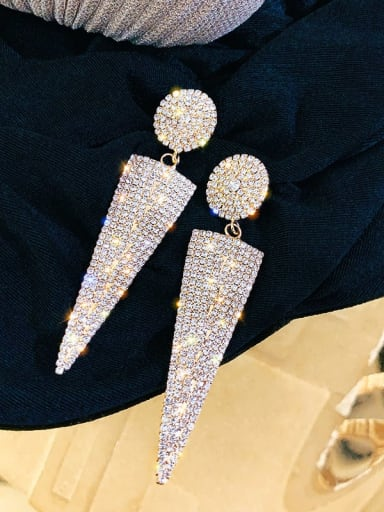 Golden Triangle Alloy Cubic Zirconia Triangle Statement Chandelier Earring