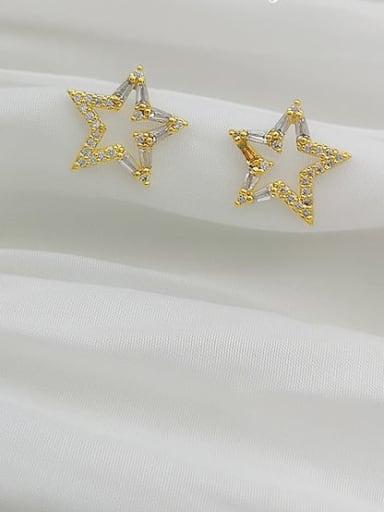 14K gold Copper Cubic Zirconia Star Dainty Stud Earring