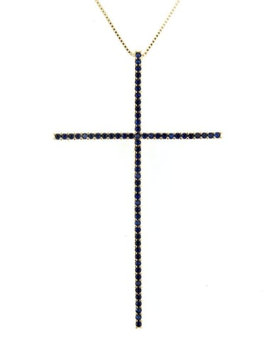 Gold Plated Blue Zircon Brass Cubic Zirconia Religious Minimalist Regligious Necklace