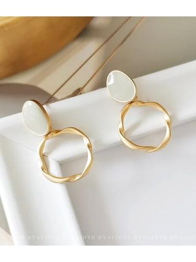 Golden gray Copper Enamel Geometric Minimalist Drop Earring