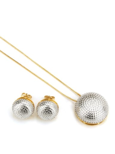 Platinum plating Brass Vintage Round ball Earring and Necklace Set