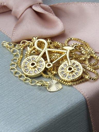 Brass Cubic Zirconia Irregular Minimalist Bike Pendant  Necklace