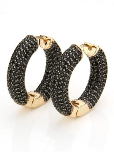 Gold Plated Black zircon Brass Cubic Zirconia Round Minimalist Hoop Earring