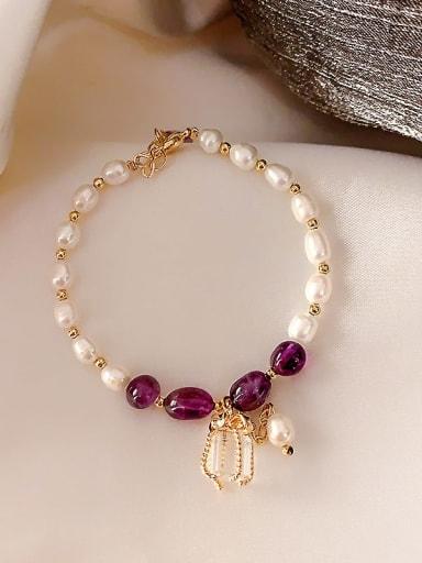 violet Alloy Imitation Pearl Geometric Bohemia Adjustable Bracelet