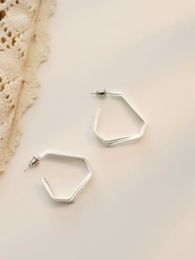 Dumb Silver Copper Smooth  Triangle Minimalist Stud Earring