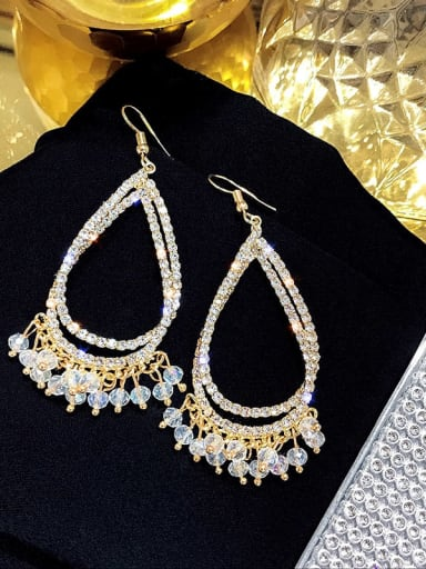 ear hook. White crystal Alloy Rhinestone Water Drop Luxury Hook Earring