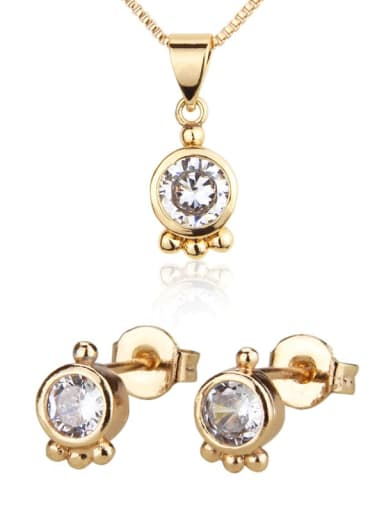 Brass Cubic Zirconia Minimalist Round  Earring and Necklace Set