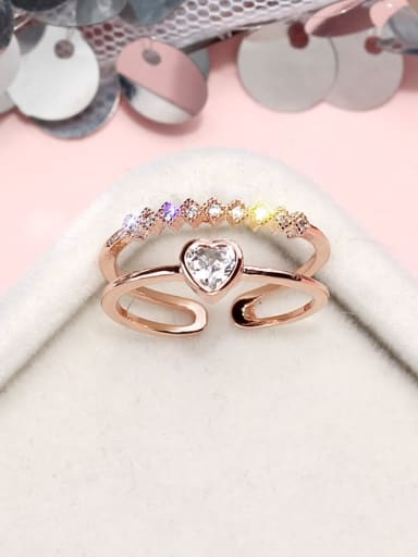 rose gold Alloy+ Cubic Zirconia White Heart Trend Stackable Ring/Free Size Ring