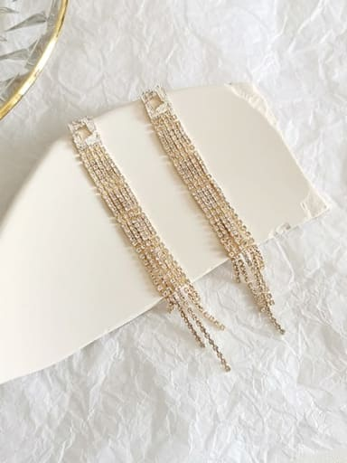 14K gold Copper Cubic Zirconia Tassel Dainty Threader Earring