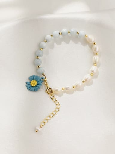 Aquamarine. (DAISY) natural pearl Alloy Imitation Pearl Flower Cute Adjustable Bracelet